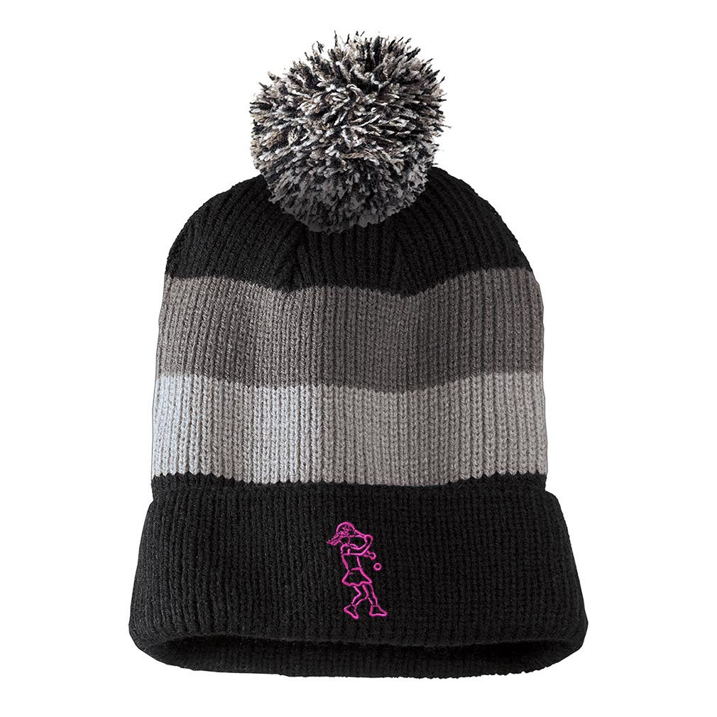 One Size Womens Pink Embroidered Vintage Striped Removable Pom Pom Beanie