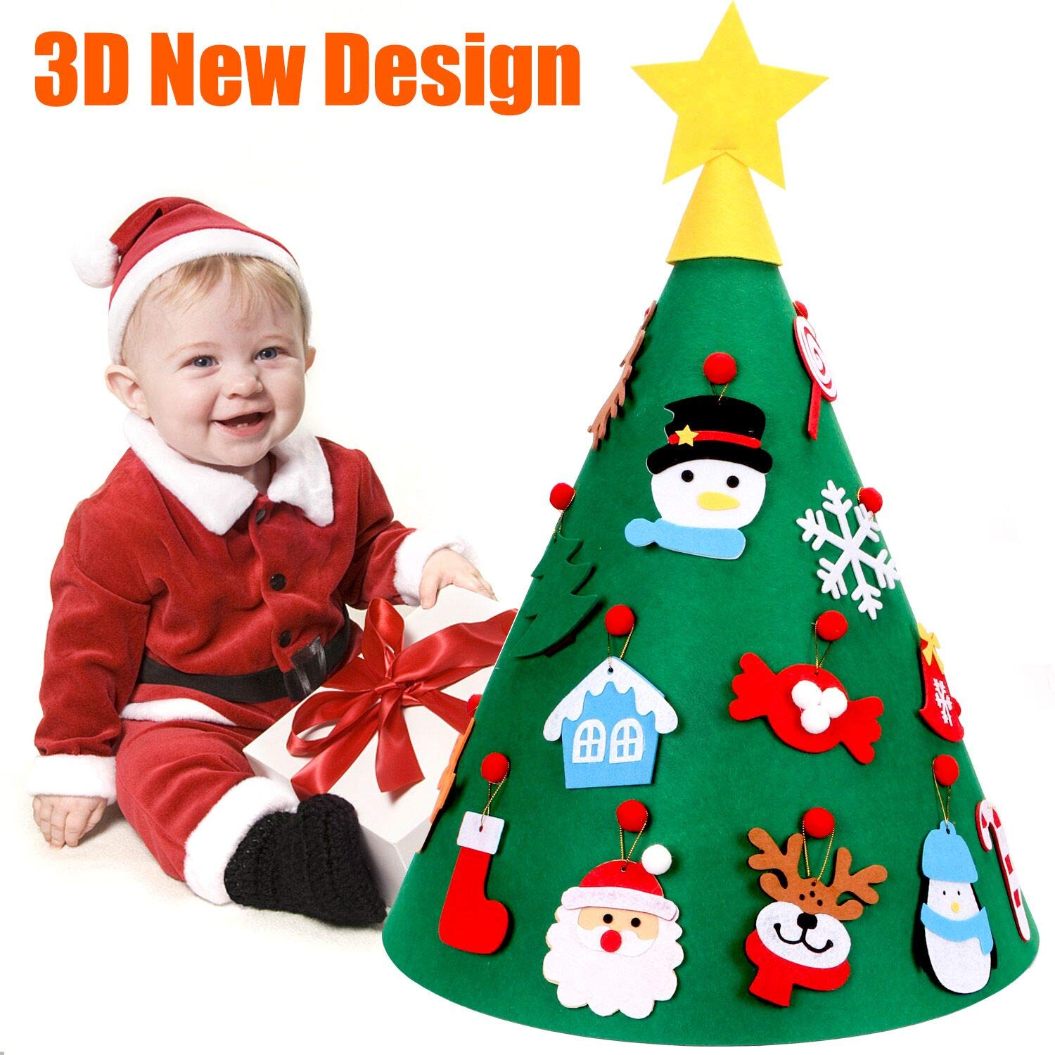 VOCOO 3D DIY Felt Christmas Tree for Kids, with 18 PCS Hanging Ornaments, Best Xmas Gifts for Child Christmas Home Decorations