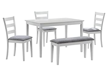 Remarkable Monarch Specialties Dining Set With A Bench And 3 Side Chairs White Gamerscity Chair Design For Home Gamerscityorg