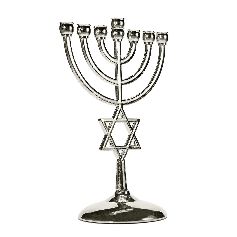 Ananadashop Silver Star David - Portavelas Decorativo, diseñ o de Judaica de 7 Ramas de Israel Menorah Hanukkah diseño de Judaica de 7 Ramas de Israel Menorah Hanukkah Anandashop 003AllWell_006_silver