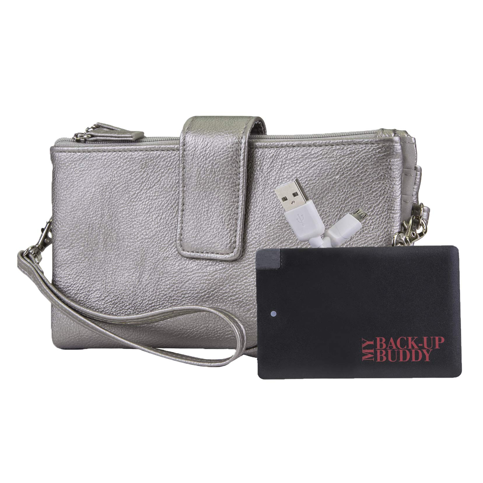 Mundi Power Pro Vegan Leather Womens RFID Crossbody Wallet With Included Portable Phone Charger (Pewter)