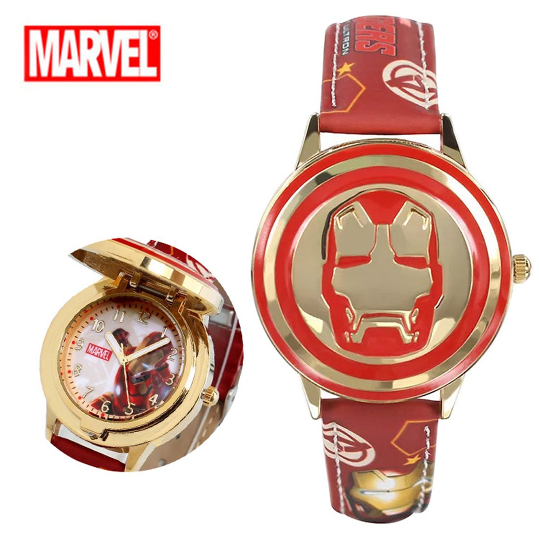 BRANDSALE Ironman Watch For Boys and Girls | Soft Leather Strap Quartz Wrist Watches For Kids | Marvel Iron Man Wrist Watch | Waterproof Kids Watch (Red)