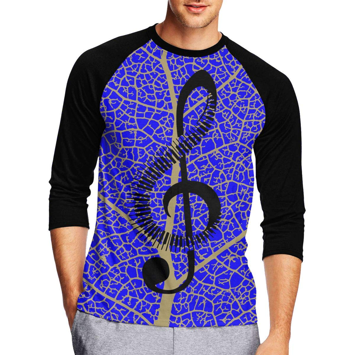 DFGHJZH-L Musical Note Piano Mens Cool Adult Long-Sleeved T-Shirt
