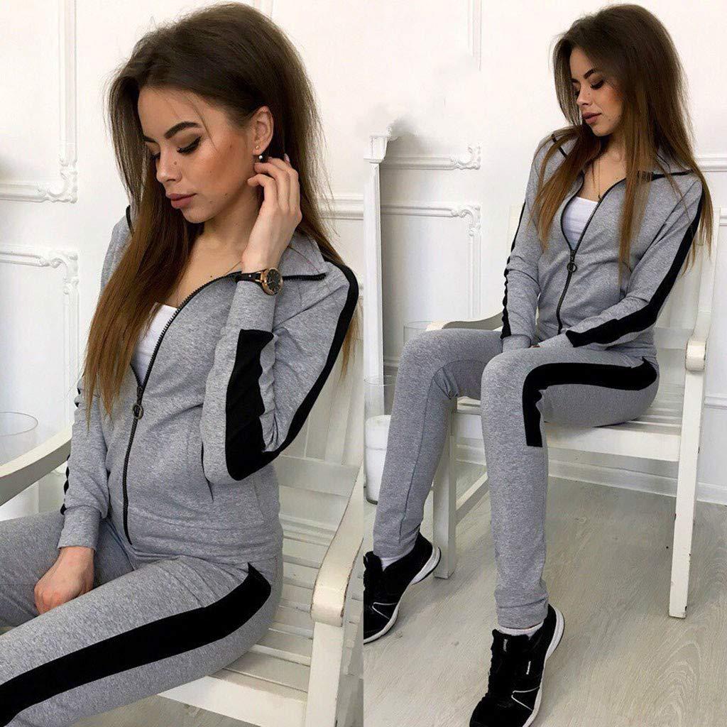 ITISME Survêtement Femmes Mode Casual DécontractéeBande Fermeture éclair Manche Longue Pullove Sport Hauts + Pantalons Longs Ensemble A91-gris