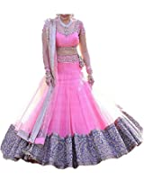 Sanjana Design Women's Faux Georgette Lehenga Choli (SD1953_Pink_Free Size)