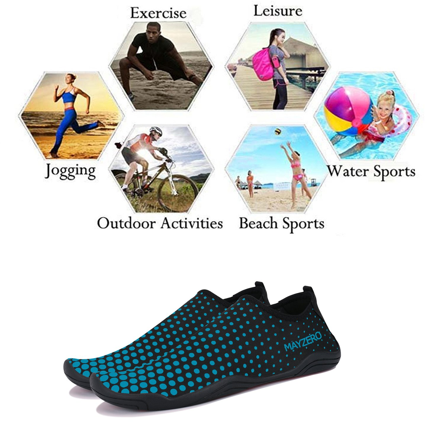 WXDZ Men Women Water Sports Shoes Quick Dry Barefoot Aqua Socks Swim Shoes for Pool Beach Walking Running (10.5 US Women/9 US Men, Dot-Blue) by WXDZ (Image #6)