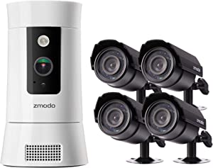 Zmodo 1080p Indoor Security Camera Pan/Zoom, Motion Tracker, Two-Way Audio with Zmodo 700TVL 4-Pack Indoor/Outdoor Analog Cameras