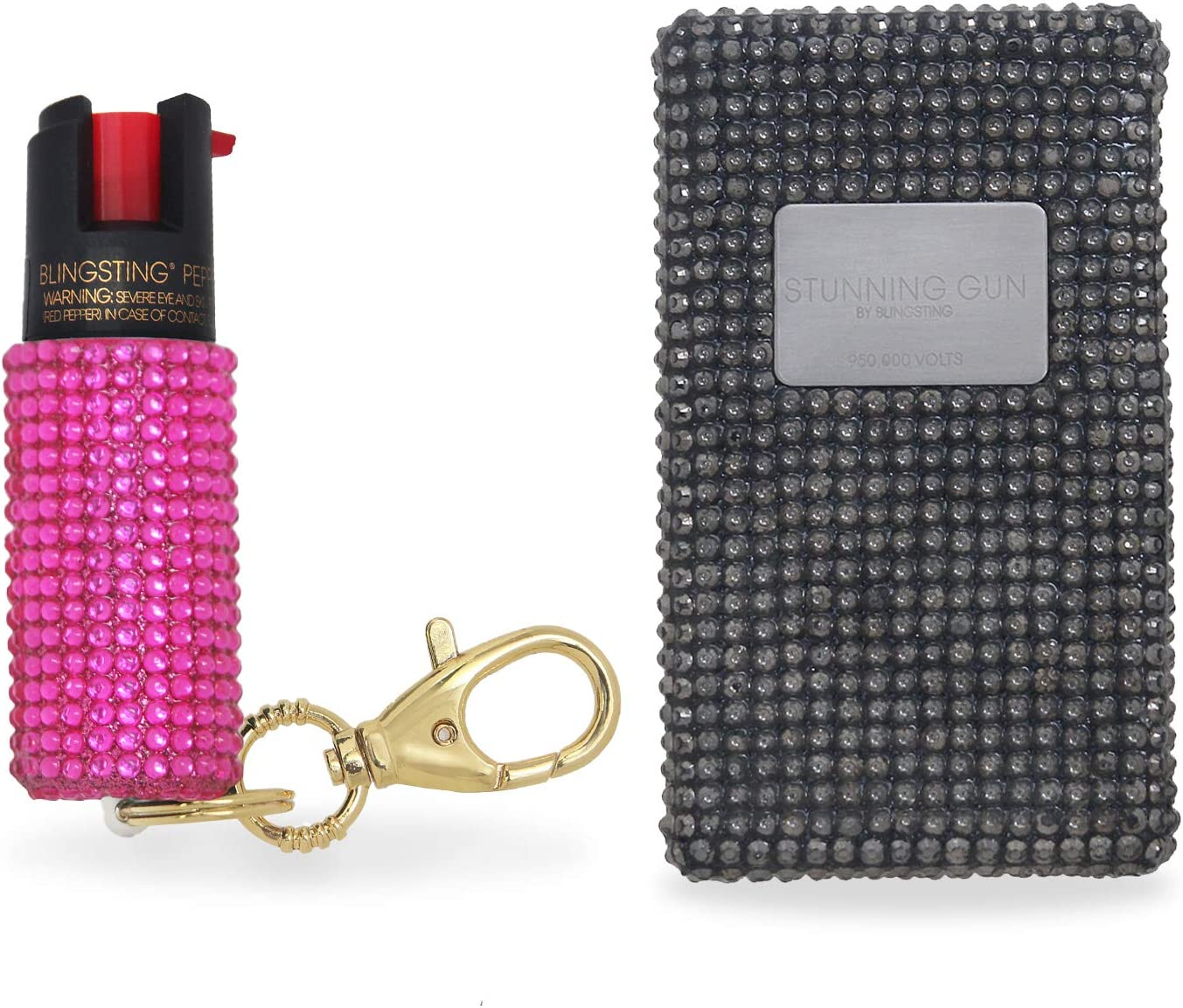 BLINGSTING Pepper Spray Stun Gun Combo Safety Set – Carry Two Powerful Self Defense Products for Women, Maximum Strength Formula with UV Marking Dye, Keychain Clasp AND 950,000 Volt Compact Stun Gun
