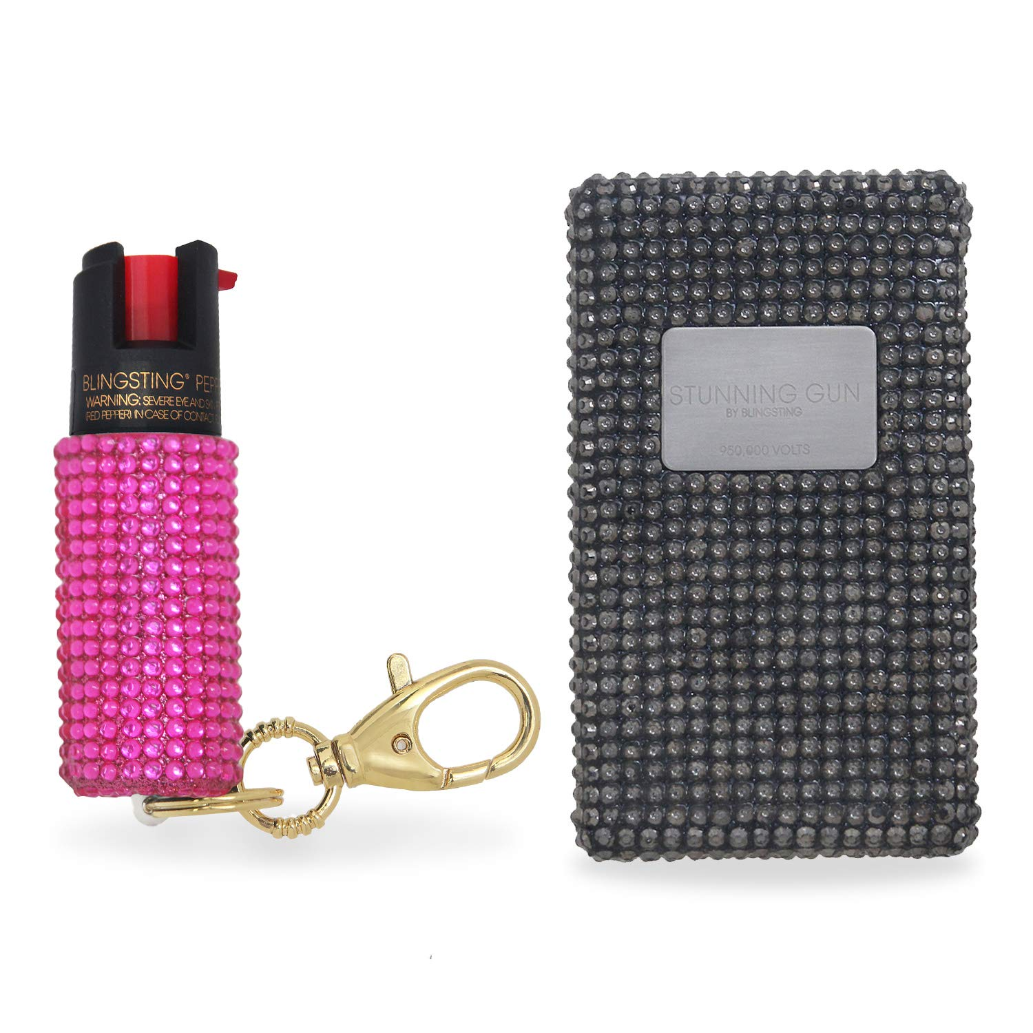 BLINGSTING Pepper Spray & Stun Gun Combo Safety Set - Carry Two Powerful Self Defense Products for Women, Maximum Strength Formula with UV Marking Dye, Keychain Clasp AND 950,000 Volt Compact Stun Gun by BLINGSTING