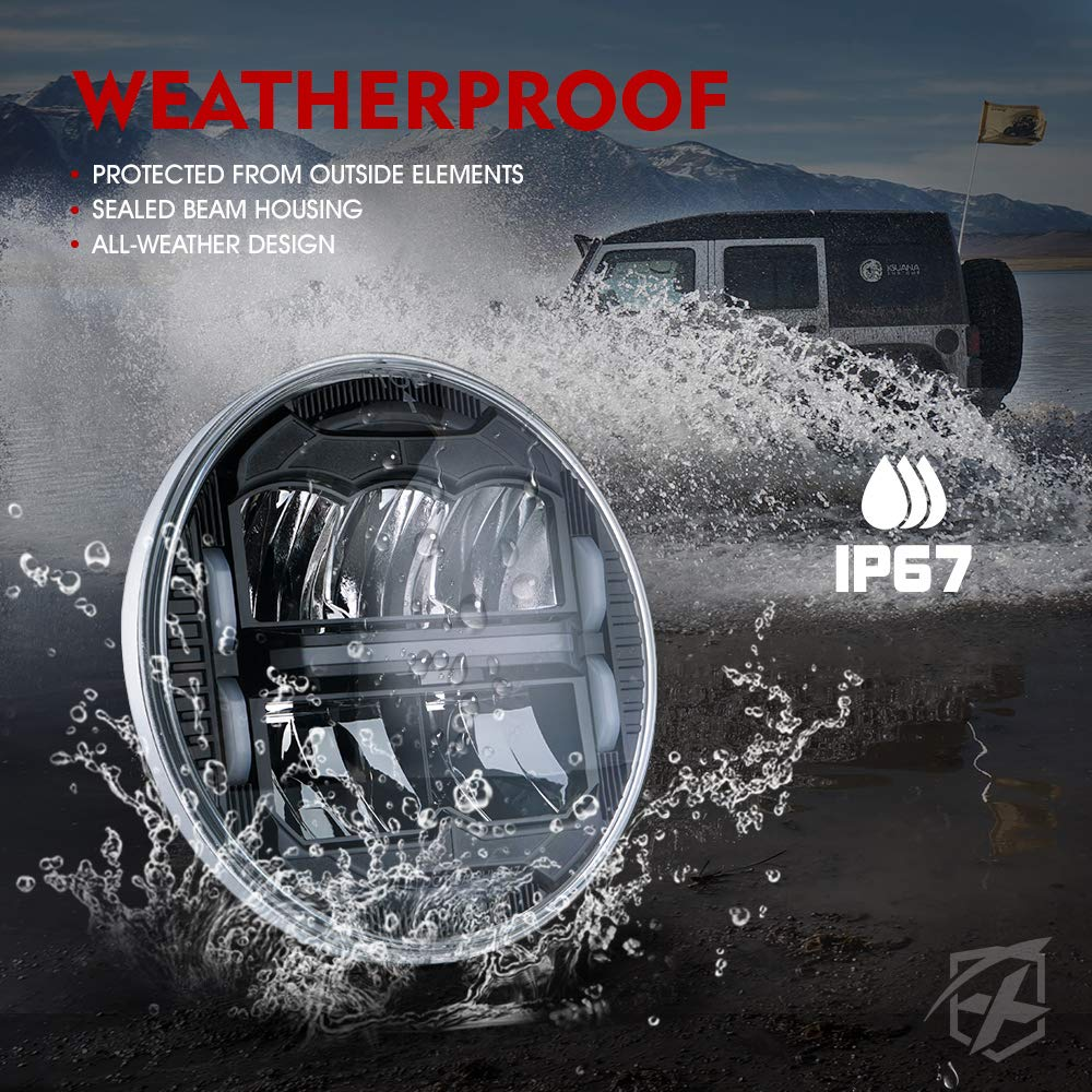 DOT Approved Xprite 7 Inch LED Headlights with White Daytime Running Lights Hi//Lo Beam for 1997-2018 Jeep Wrangler JK TJ LJ