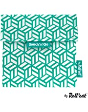 Rolleat - Snack'n'Go Tiles - Bolsa Merienda Porta Snacks Ecológica y Reutilizable sin BPA | Funda Porta Sandwich, Unisex, Color Verde