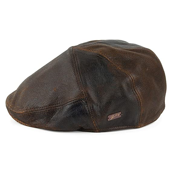 7f764a8c27e63 Bailey Hats Taxten Leather Flat Cap - Brown  Amazon.co.uk  Clothing