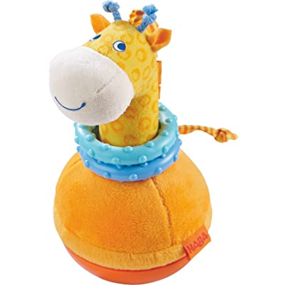 HABA Roly Poly Giraffe Soft Wobbling & Chiming Baby Toy with Teething Rings: Toys & Games