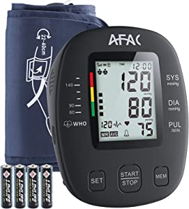 Blood Pressure Monitor AFAC, Upper Arm Automatic Digital Bp Machine for Home Use with Batteries, Large Display, Adjustable Cuff for 2 Users 240 Memory and Speaker Function