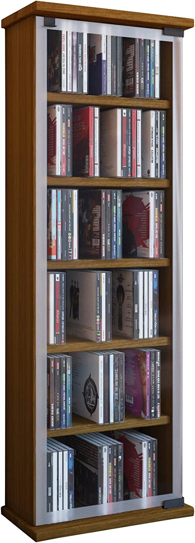 Madera VCM Galerie Mueble CD//DVD para 300 Piezas Blanco 91,5x31x18 cm