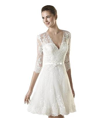 YASIOU Hochzeitskleid Standesamt Knielang V Ausschnitt Elegant Damen ...