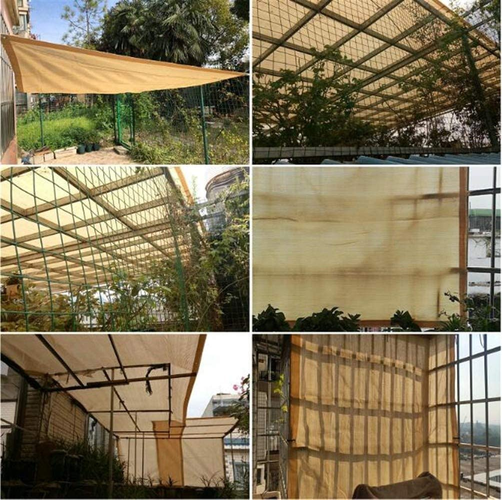 Fabric Mesh Shade Net with Grommets for Porch Canopy or Gazebo Plant Cover Tarpaulin Color : Beige, Size : 1x1M//3x3FT ANUO Shade Fabric Sun Mesh 80/% Shade Cloth for Garden