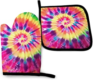 Ahoocustom Funny Rainbow Tie Dye Oven Mitts And Pot Holders Sets