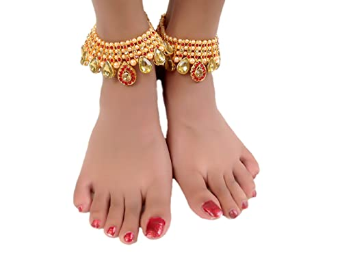 2fadc3420f606a Womensky Antique Traditional Kundan Pearls Stone Fancy Stylish Gold Plated  Payal/Anklet/Pajeb/