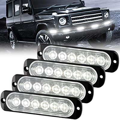 Sidaqi 12-24V 6-LED Super Bright Emergency Warning Caution Hazard Construction Strobe Light Bar with 18 Different Flashing for Car Truck SUV Van - 4PCS (White): Automotive