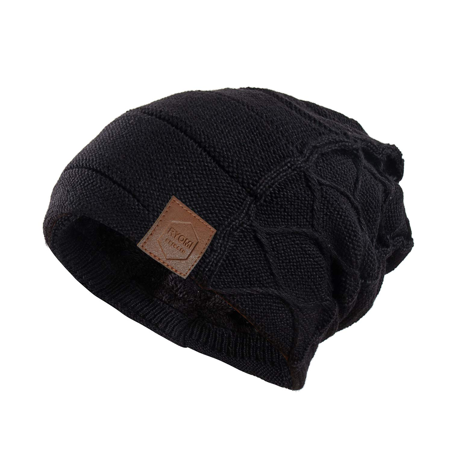 cf4e33e139e58 RYOMI SEIKATU Beanie Hat for Men and Women Fleece Lined Winter Warm Hats  Knit Slouchy Thick Skull Cap Black at Amazon Men s Clothing store