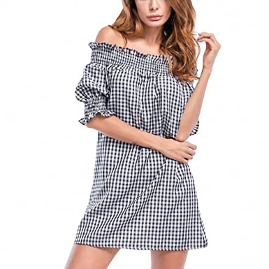 Half Sleeve Summer Dress Mini Style Slash Neck Women Sexy Beach Off Shoulder Plaid Dress Vestidos
