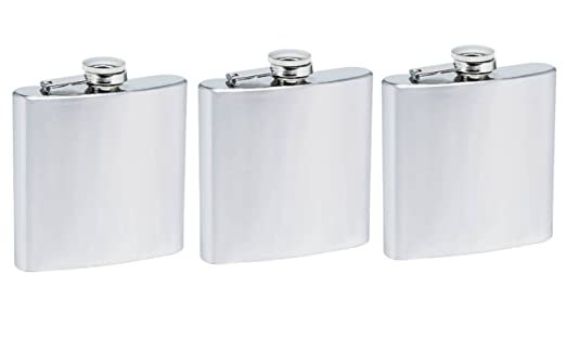 Set Of 3 6oz Stainless Steel Flask Industrial Scientific
