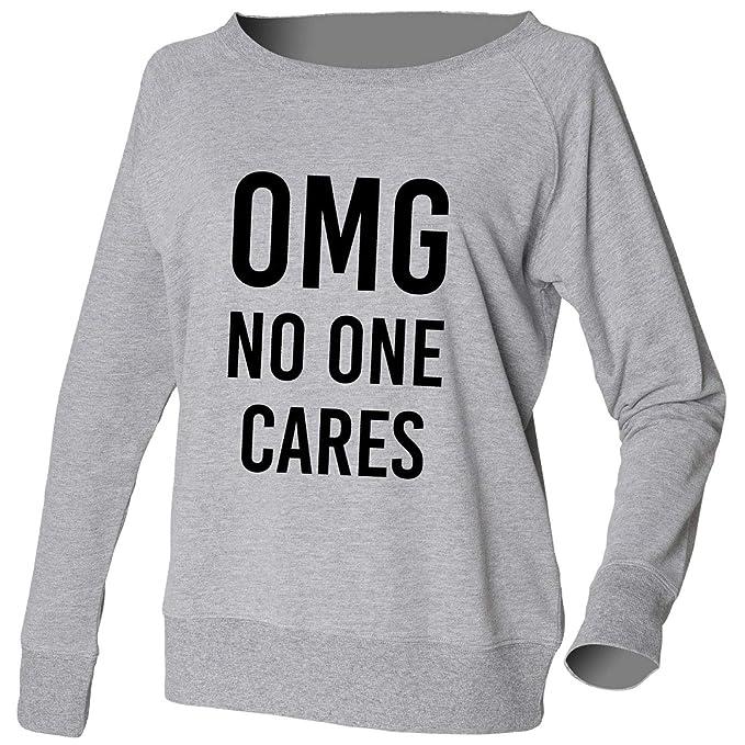 Sudadera OMG No One Cares Oh My God Jersey Sudadera Amplio Ancho Escote Top Disponible en color gris o Negro Ropa Cómoda ropa de descanso: Amazon.es: Ropa y ...