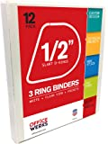 Officewerks 3 Ring Binders, 0.5 Inch Slant-D Rings, White, Clear View, Pockets - 12 Pack