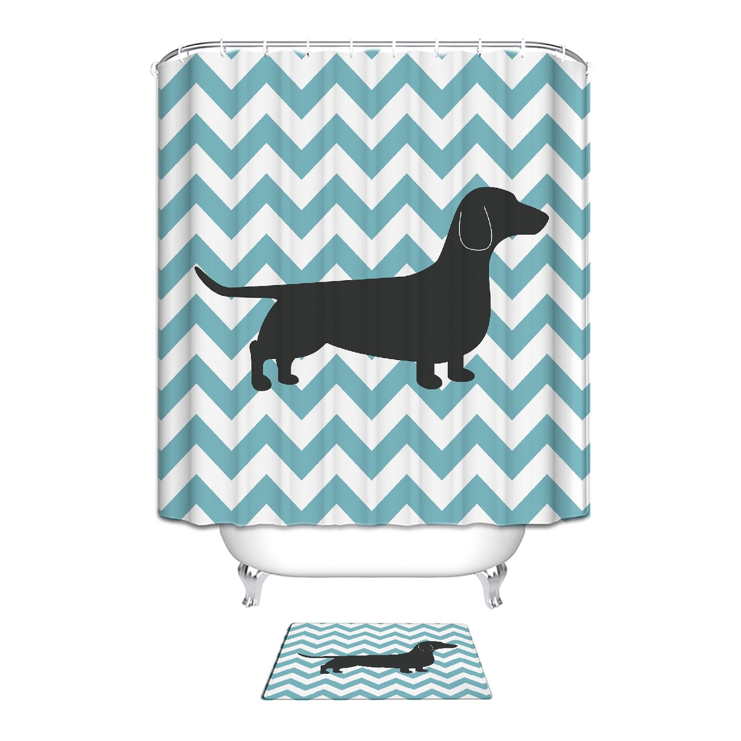 Blue White Zigzag Dachshund Dog Waterproof Polyester Fabric Shower Curtain with Washable Indoor Mat-12 Hooks