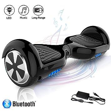 COLORWAY Patinete Eléctrico Auto Equilibrio Hoverboard 6.5 Pulgadas con Bluetooth y LED E-Skateboard