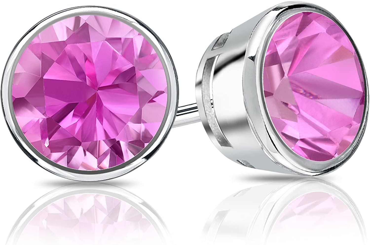 Details about  /2ct Round Cut Designer Studs White Sapphire 18k Pink Gold Earrings Screw back