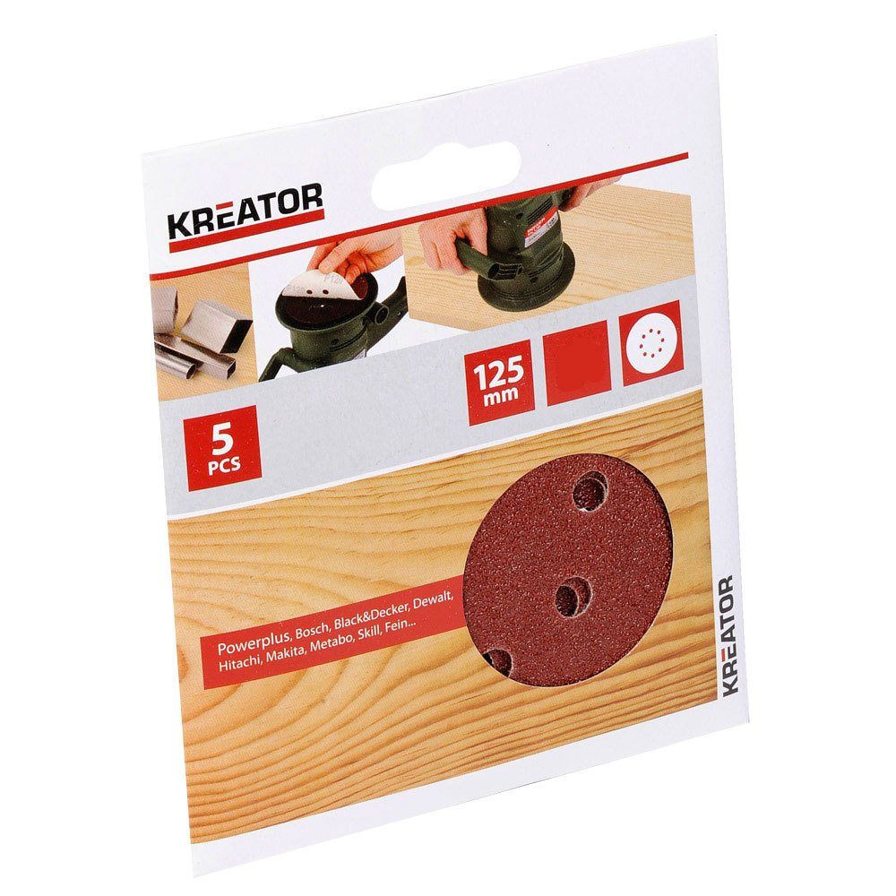 Kreator 03230503 Jeu de 5 Disques abrasifs auto-agrippant Ø 125 mm Grain 40