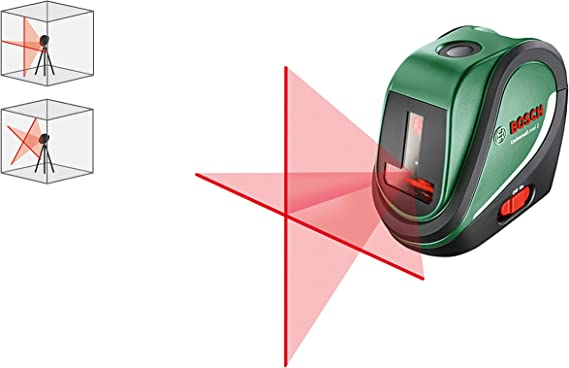 tr/ípode de 1,5 m, 3 pilas AA, bolsa, alcance: 10 m, tiempo de autonivelaci/ón: 4 s, autonom/ía: 5 h Bosch Nivel l/áser en cruz UniversalLevel 3 Set