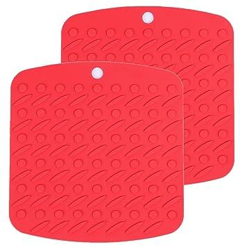 De silicona de salvamanteles, agarraderas y pot/sartenes de protector de silicona para sartenes de protección de acero resistente al calor, Rote: Amazon.es: ...