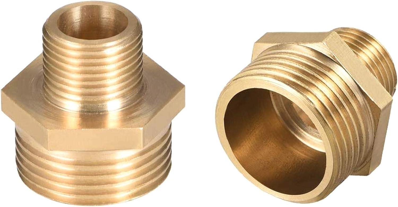 LAQI 2 Piezas de Tubo Recto de lat/ón Reductor pez/ón Hexagonal Macho a Macho Conector G 3//8 x G 3//4 Macho
