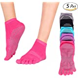 Wsky Yoga Socks - Full Toe, Non Slip, Pilates Best Socks with Grip for Women, 5 Pairs