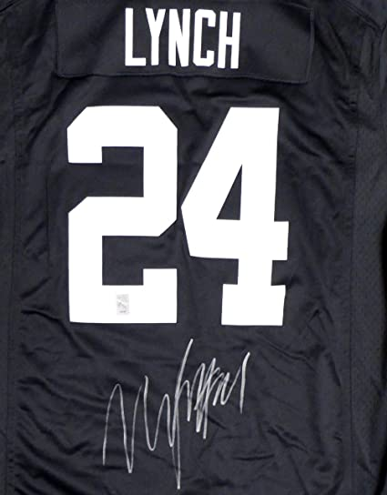 best sneakers 986cd 0faa8 Oakland Raiders Marshawn Lynch Autographed Black Nike Jersey ...