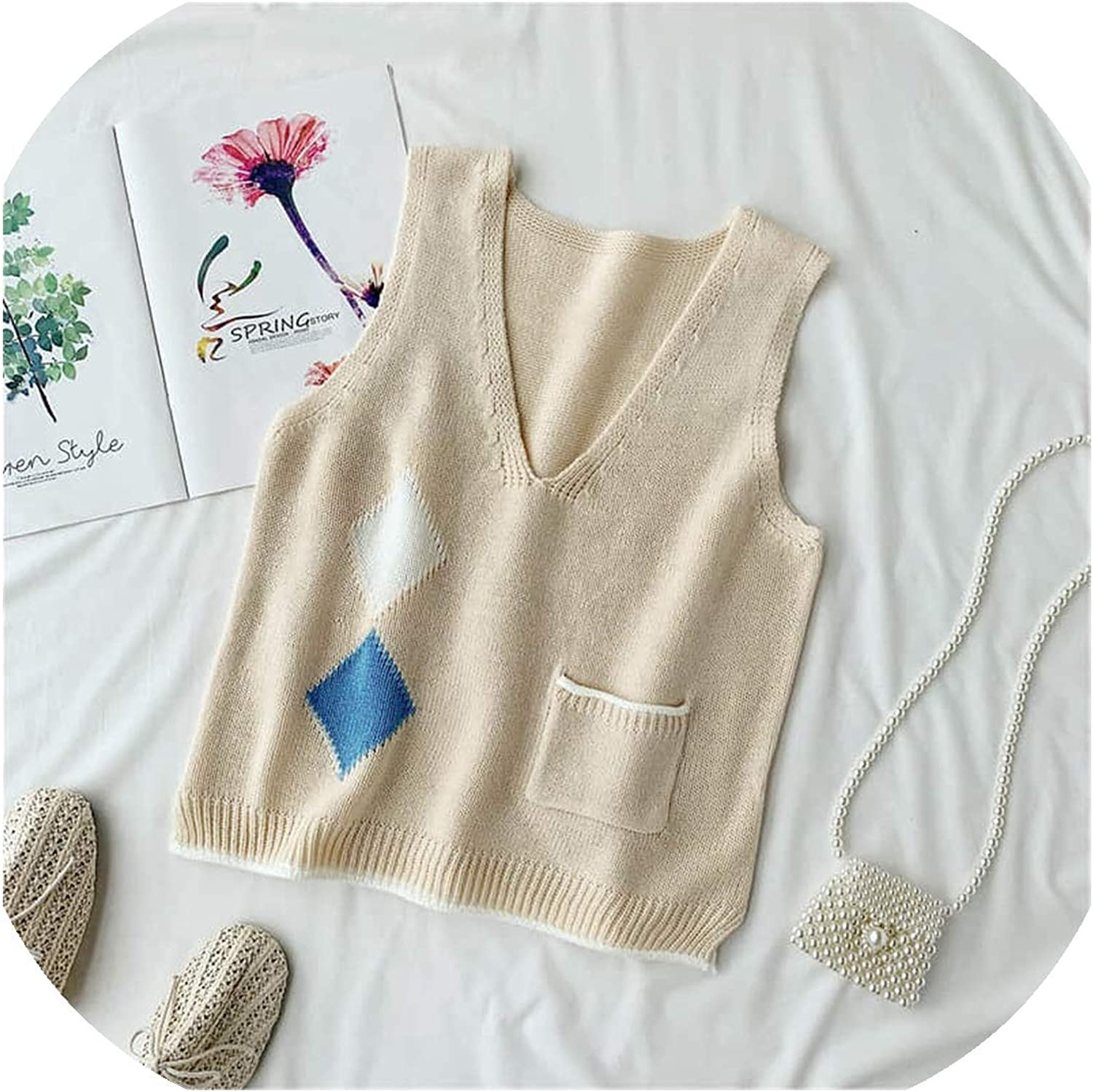 2019 Autumn Fashion Patchwork Knitting Vest Women Sleeveless