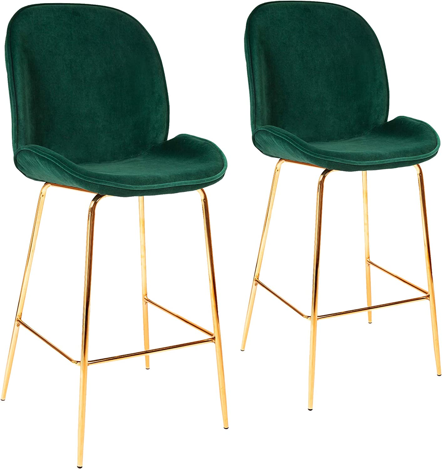 all about chair Set of 2 Green Velvet Bar Chairs Bar Stools for Restaurant Pub Home Kitchen Dining Room