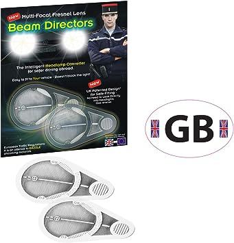 Headlamp Beam Light Fresnal Lens Adaptors 2 French Breathalyser Euro GB Sticker