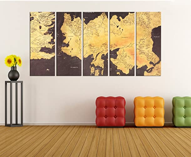Amazon.com: Game Of Thrones Map Texture Rustic Wall Decor Home ...