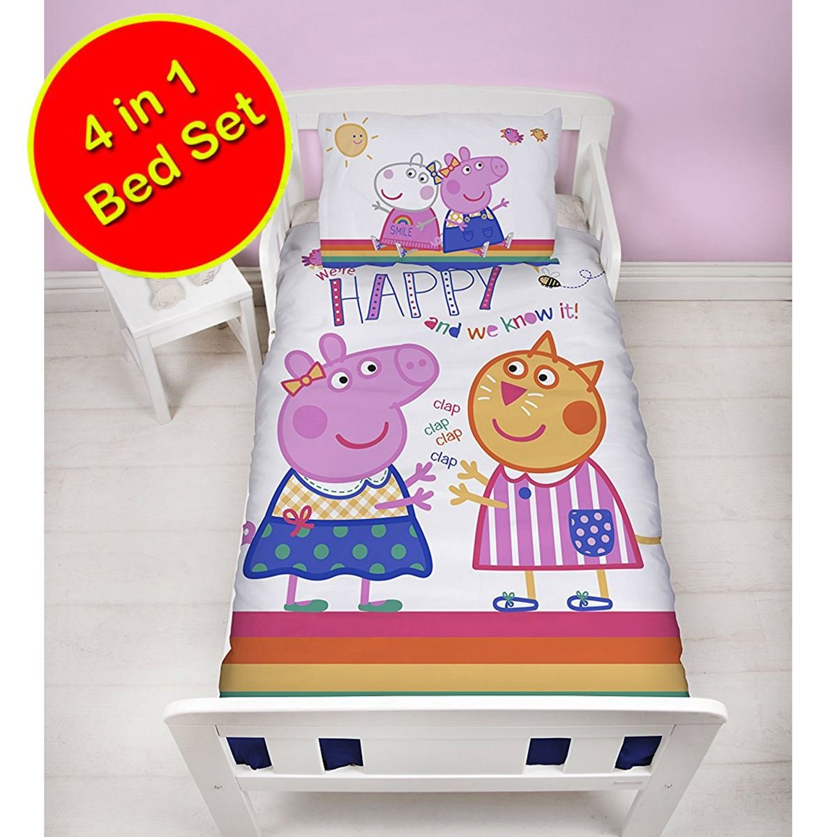 Peppa Pig Hooray 4 in 1 Junior Bedding Bundle Set (Duvet, Pillow and Covers) Character World
