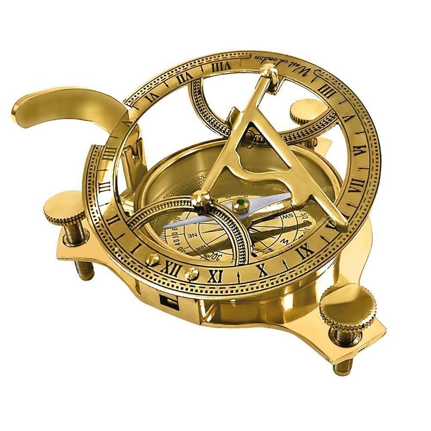 PARIJAT HANDICRAFT 3'' Sundial Compass - Solid Brass Sun Dial Beautiful Nautical Sundial Compass