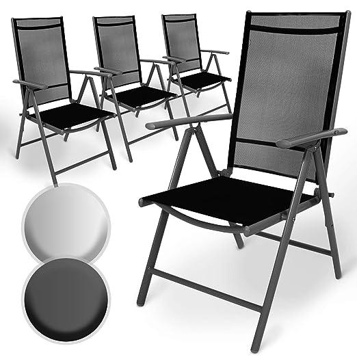 Juego de Aluminio Sillas de Jardín | Plegable, con Reposabrazos, Respaldo Ajustable | Silla para Exterior Balcón Camping Festival (Juego de 4, Gris ...