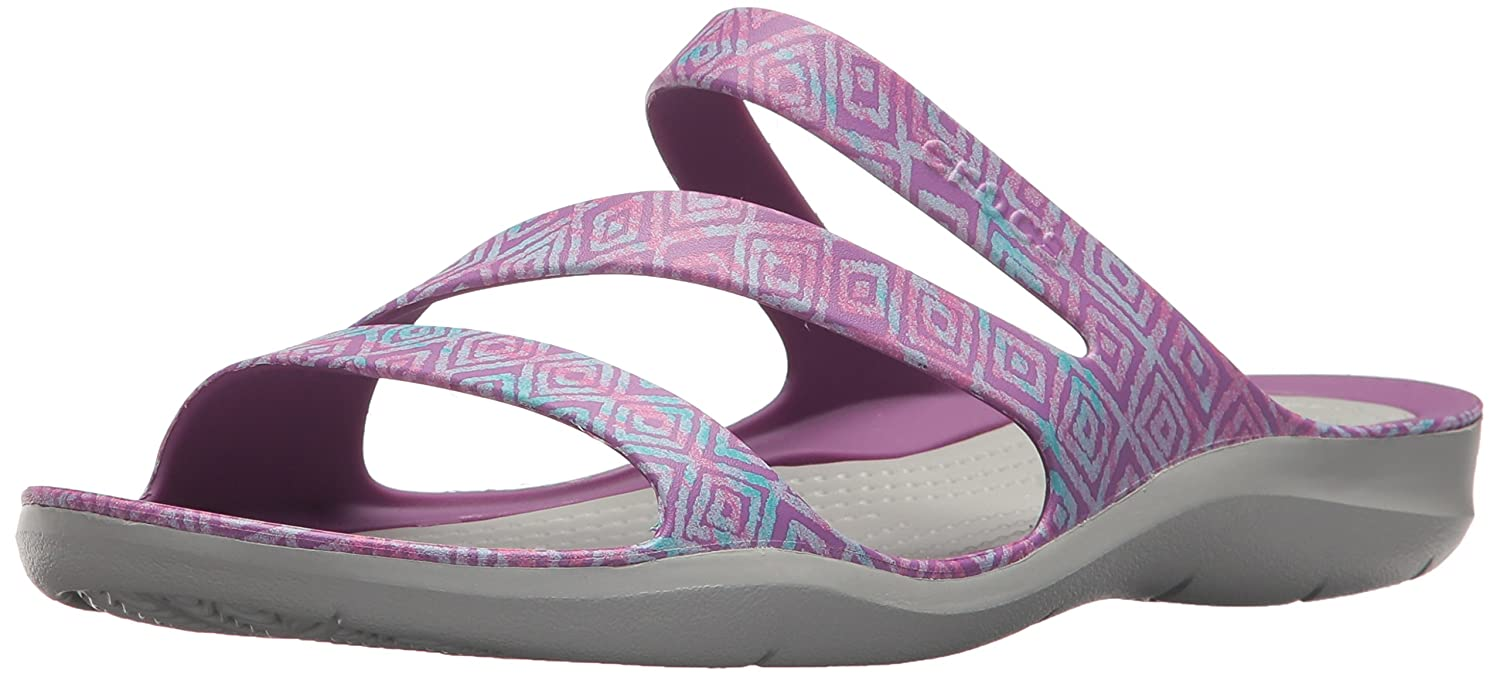 Crocs Women's Swiftwater Graphic Sandal B072JN5R8V 10 B(M) US|Amethyst Diamond/Light Grey