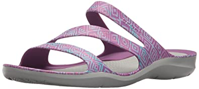 Crocs Women's Swiftwater Graphic W Sport Sandal, Amethyst Diamond/Light  Grey, ...