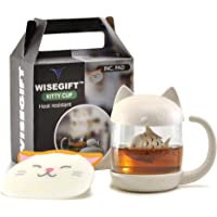 Cute Mug Kitty Tea Cups Glass Mug with Infuser Strainer Fish Filter | Portable Cute Cat Ears Tail Tea Maker | Perfect Home Office Décor or Gifts Present for Valentines Day For Him Her, Birthday, Home Warming, Anniversaries, Mother's Father's Day Free Coaster Pad Included