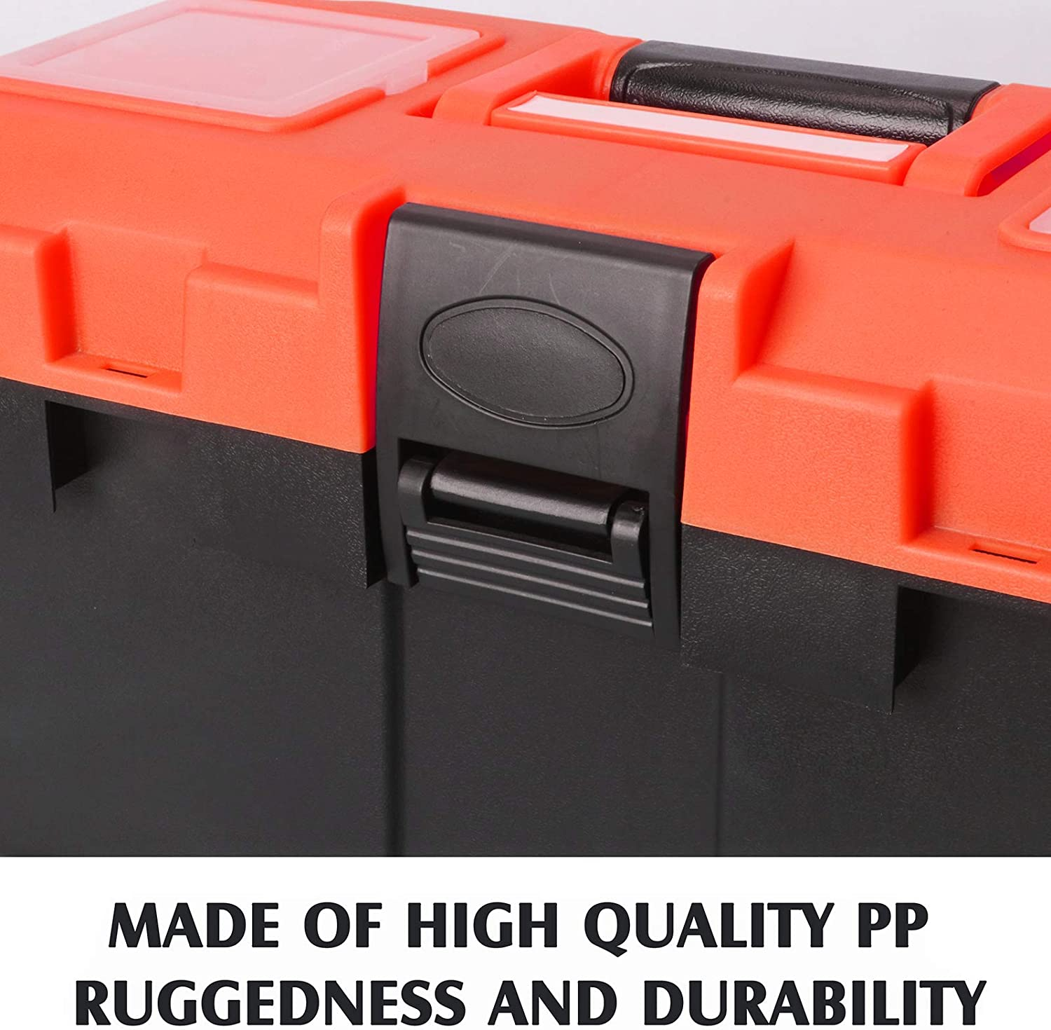 nuts MIXPOWER 14-inch Plastic Toolbox and Removable Tray used for Organization and Storage Essential Toolbox for storing screws tool or craft storage,Black//Orange