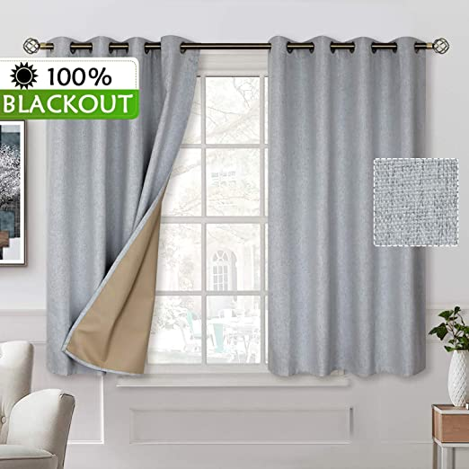 100/% Blackout Curtains Set of 2 Panels Lined Insulated Grommet Bedroom Window